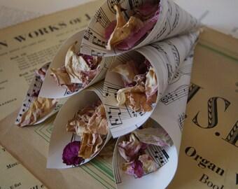 12 x Antique Rustic Ivory/Cream Sheet Music Vintage Wedding Confetti Cones