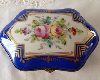 Beautiful Vintage Porcelain Blue Dresser Box/ Casket French Hand Painted Trinket Box