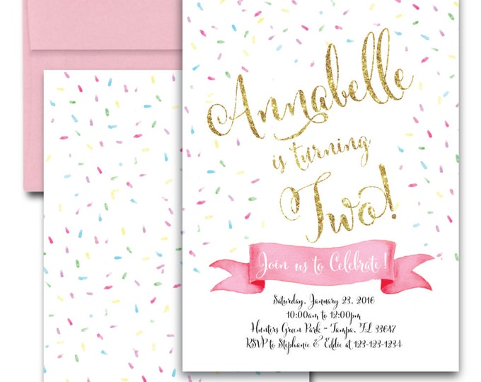 Sprinkle Birthday Invitation // Pink // Pastel //Gold Glitter // Cupcake // Watercolor // Sprinkles // Blush // Pink // TAMPA COLLECTION