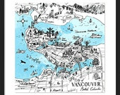 Vancouver Map - City of Vancouver British Columbia Canada Watercolor Art print - Home decor Wall Art