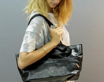Sale!!! Shiny black Leather purse Shiny bag Leather Handbag Leather Shoulder bag