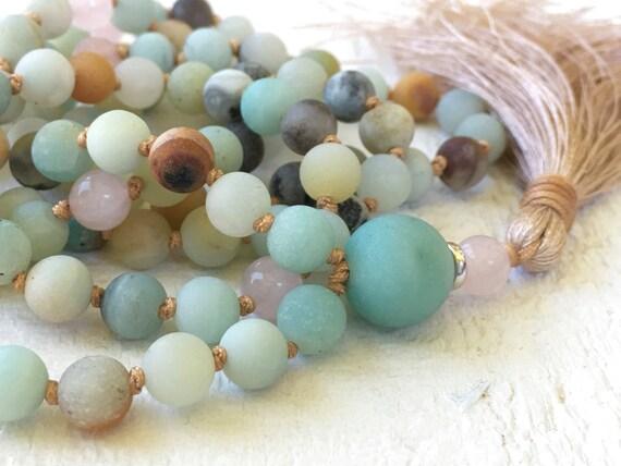 Amazonite Knotted Tassel Mala, Natural Stone Mala Beads, Hand Knotted 108 Bead Yoga Meditation Beads, Healing Natural Jewelry