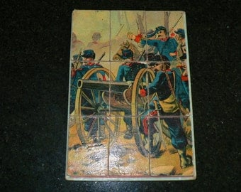 Antique French late 19th century childrens cardboard jigsaw puzzle - soldiers & canon - 1870 Franco-Prussian war