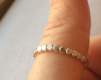 Eternity Ball Ring - Silver Ball Ring - Dot Dotted Band - Stacking Ring - Little Layering Ball Ring - sterling silver - Ball Stacking Ring