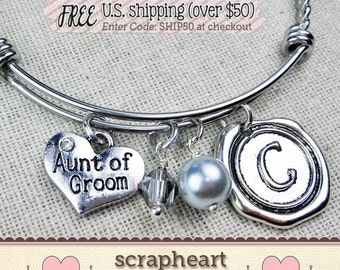 AUNT of GROOM Gift, Personalized Initial Bangle Bracelet for Aunt of the Groom, Special Aunt Wedding Keepsake Gift,Wedding Gifts from Nephew