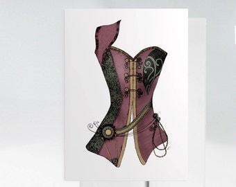 Hand Drawn Corset Card, Vintage Style Corset, Steampunk Corset, Bridal Shower Card, Vintage Garnet Corset with Lasso, Steampunk Card 1041A