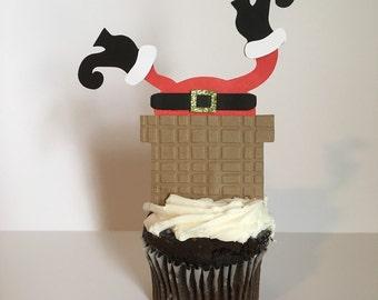 Santa Cupcake Toppers, Santa Stuck in the Chimney, Christmas Cupcake Topper, Santa, Santa Decor, Christmas Party, Christmas Party Decor
