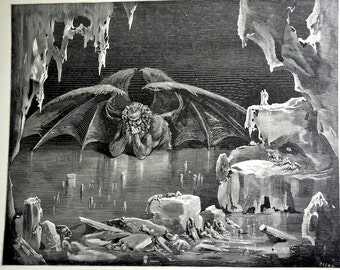 1903 Steel Engraving by Gustave Dore from Dante's Inferno Hell Book, Black and White Wall Art Print, Devil Halloween Wall Decor -  Plate 73