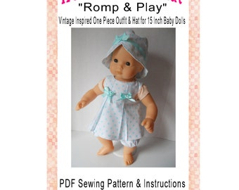 50s Vintage Inspired Baby Romper Outfit 15 Inch Baby Doll Clothing Sewing Pattern  PDF Digital Download