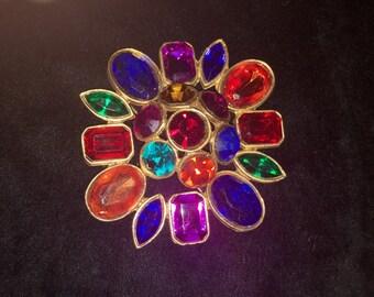 Vintage Multi-color Rhinestone Pin