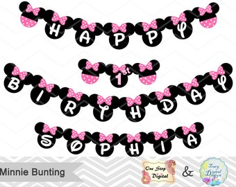 Printable Minnie Bunting, Printable Pink Minnie Banner, Minnie Birthday Party Banner Instant Download, Minnie Birthday Party Banner 0021