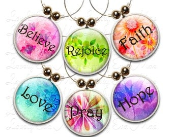 Inspirational Words, Wine Charms, Wine Glass Charms, Floral Charms, Hope, Faith, Pray, Believe, Rejoice, Love, Wine Gifts, Religious, Flower