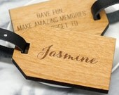Name Luggage Tag Personalised Luggage tag Wooden Luggage Tag Travel Gift Gap Year Gift Travel Quote Calligraphy Name Luggage Tag