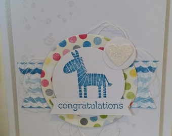Handmade Card -  Congrats Zebra on Blue/White/silver 10120