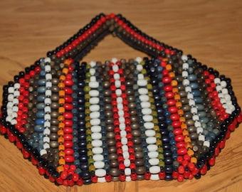Czechoslovakian wooden bead purse tote bag