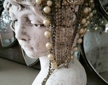 French shabby cottage chic head bust ornate distressed home decor Petite Maison Design