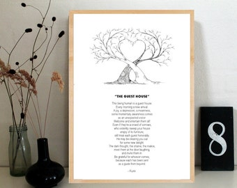 THE GUEST HOUSE by Rumi - with tree drawing by Mattie, Love Rumi, a favourite Rumi poem