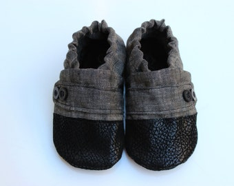 Cotton Baby Moccasin, Cloth Baby Moccasin, Soft Soled Infant Shoe, Grey Moccasin, Linen Baby Shoe, Soft Sole Baby Shoes, Newborn Moccasin