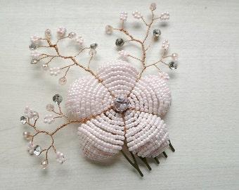 Blush hair flower, Floral hair comb, Light pink hairnpiece, Pale pink flower brooch, Bridesmaids hair accessory, Blush wedding flower