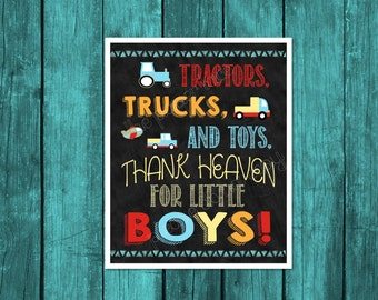Tractors trucks and toys thank heaven for little boys, Transportation Printable, transportation Birthday Decor, Cars and Trucks