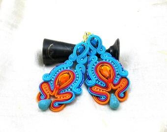 Soutache Earrings  ,soutache jewelry in ethnic, handmade earrings