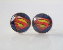 Superman logo design cufflinks, Christmas Xmas superhero cuff links, retro personalized handmade mens jewelry, groomsmen team gift idea