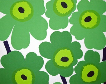 SALE! Marimekko Green Unikko fabric piece, one yard. from Finland, 92xm x 140cm