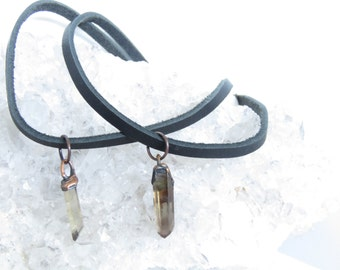 Crystal Chocker - Smokey Quartz Chocker - Leather Chocker - Crystal Leather Chocker