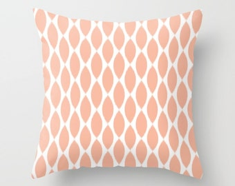 Peach Pillow, Ikat Pillow Covers, Velvet Cushion Cover, Teen Girl Room Decor, Tween Girls, Dorm Room Decor, Pillow Cover 22x22, 18x18