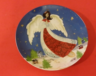Vintage Angel Plates Christmas Plates 8 inches Dessert or Salad Plates
