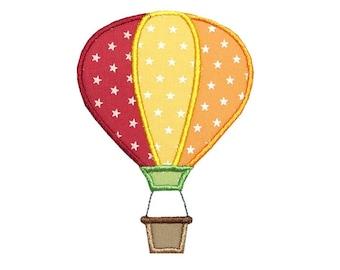 Hot Air Balloon Applique Machine Embroidery Digital Design Float Blimp Sky