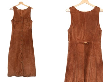 70s brown suede dress / Boho 1970s foxy brown dress / vintage clothing