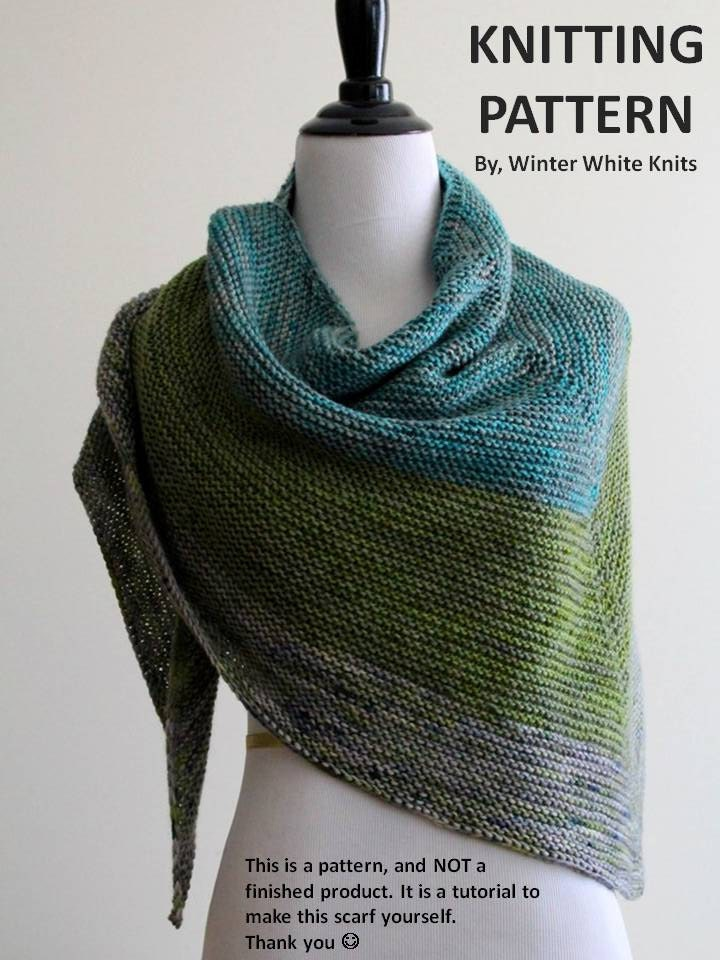Knitting Pattern knit shawl knit scarf pattern PDF Instant