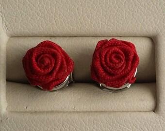 Beautiful Vintage AVON Silver Tone Red Rose Post Stud Earrings