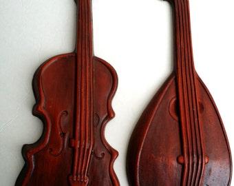 Beautiful Vintage Royal Cast Violin & Mandolin Musical Wall Décor