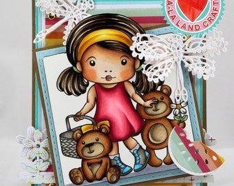 Girl with picnic and teddy bears card