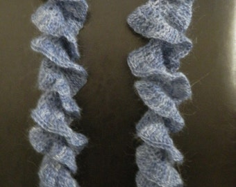 Ruffle Lacy Scarf in Blue
