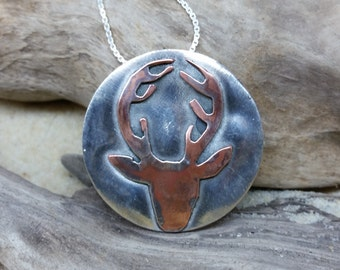 Handmade Stag necklace sterling silver and copper deer