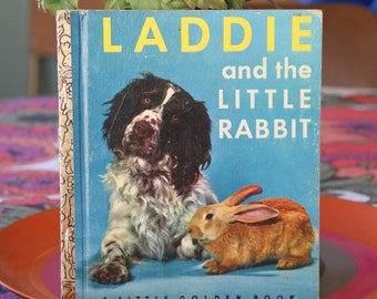 Vintage Little Golden Book  Ladie and The Little Rabbit 1973 Hard Back- real photographic illustrations