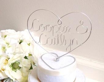 Wedding Cake Topper - Heart Cake Topper - Personalized Wedding Cake Topper - Anniversary Cake Topper - Cake Topper Gold - Cake Topper Silver