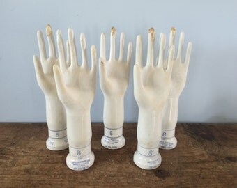 Many Available..Size 8 Left Hand Vintage Industrial Porcelain Glove Mold, Hand Sculpture, Jewelry Holder, Display, Prop, Hat Stand