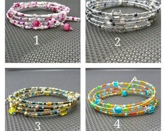 Bracelet memory wire beads Miyuki Toho