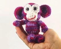 Monkey/Crochet Monkey/Stuffed Animal/Ready to Ship/Stocking Stuffer/Plush Monkey/Soft Toy/Toy Monkey/Amigurumi/Purple Monkey/Jungle Animal