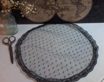 Evintage Veils: Vintage-Inspired Point D'esprit  Black Dot Chapel Veil