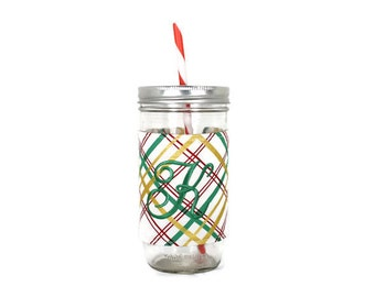 Christmas Plaid Mason Jar Tumbler, Red and Green Plaid Monogrammed Tumbler, Gifts for Her, Unique Gift, Bridesmaid Gift, Gifts Under 25