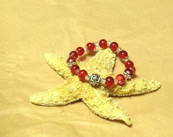 Stretch Bracelet with Red and Clear Glass Beads ~ OOAK