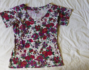 90's Floral Shirt, T-Shirt, Red and pink floral, Small