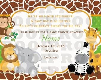 Safari Theme Baby Shower Invitation