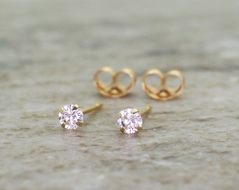 14k yellow gold with 0.1ct solitaire natural diamond stud affordable earring