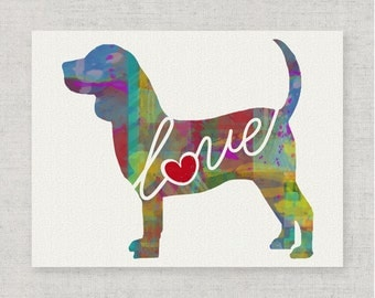 Beagle Love - A Colorful Watercolor Style Gift for Dog Lovers - Wall Decor Dog Breed Art Print That Can be Personalized With Pet's Name